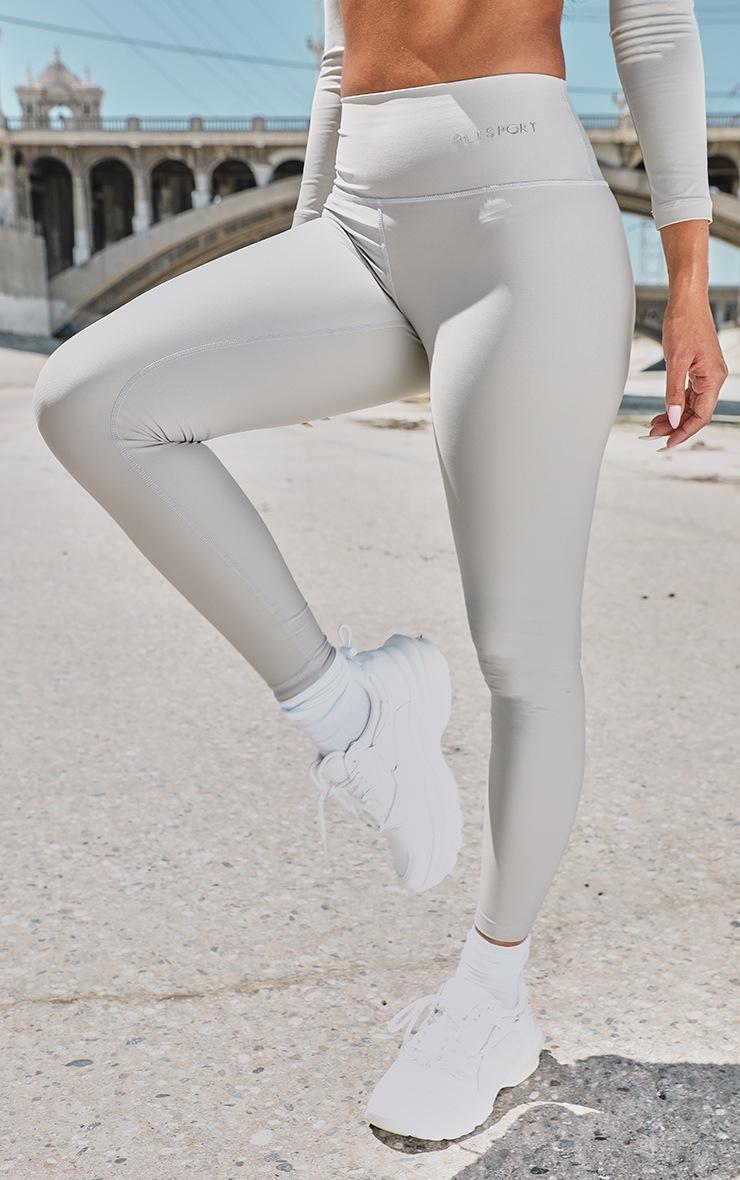 PRETTYLITTLETHING Premium Grey Sport High Waist Leggings 2