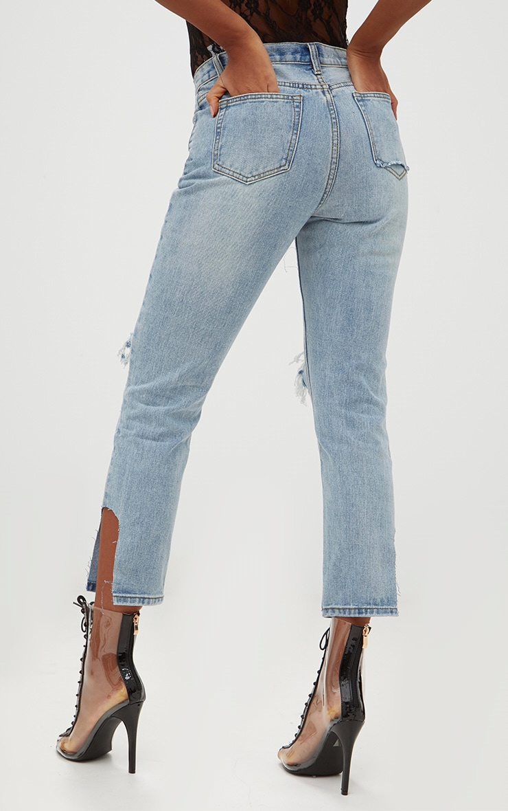 Light Wash Open Knee Step Hem Mom Jean 4