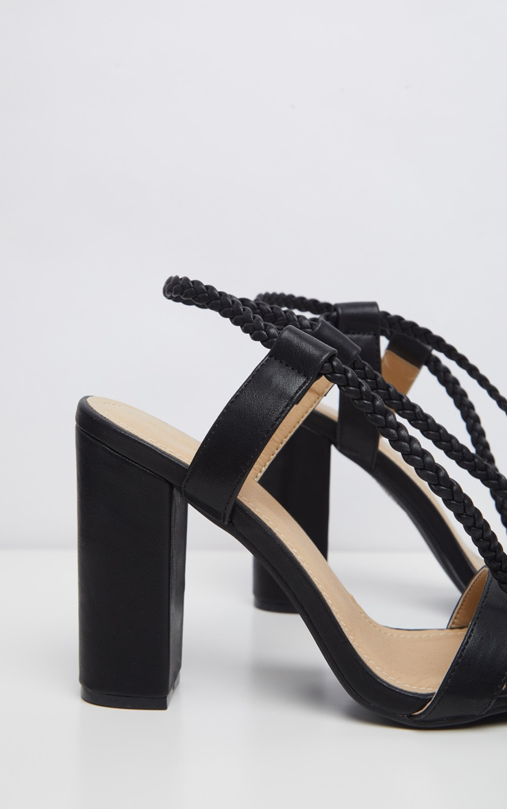 Black Plaited Ankle Tie Block Heel Sandal 3