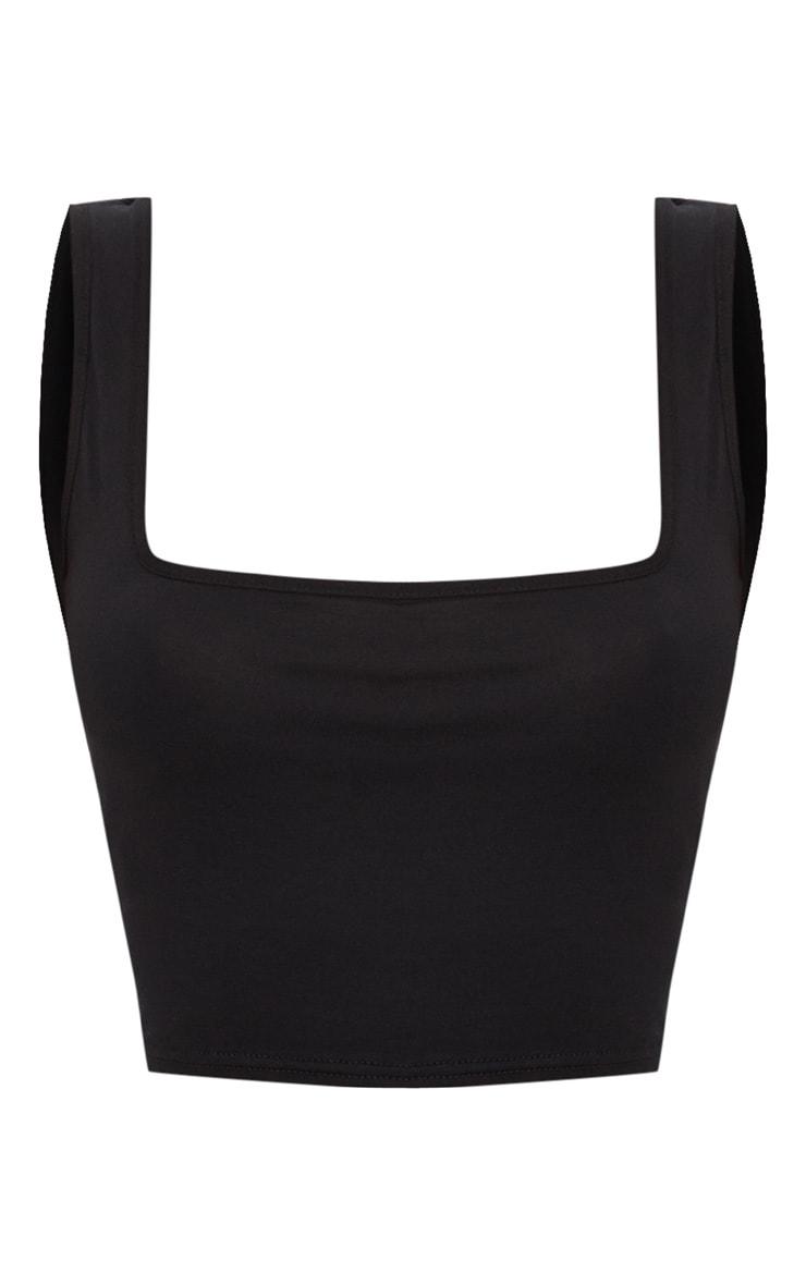 Basic Black Cotton Blend Square Neck Crop Vest 5