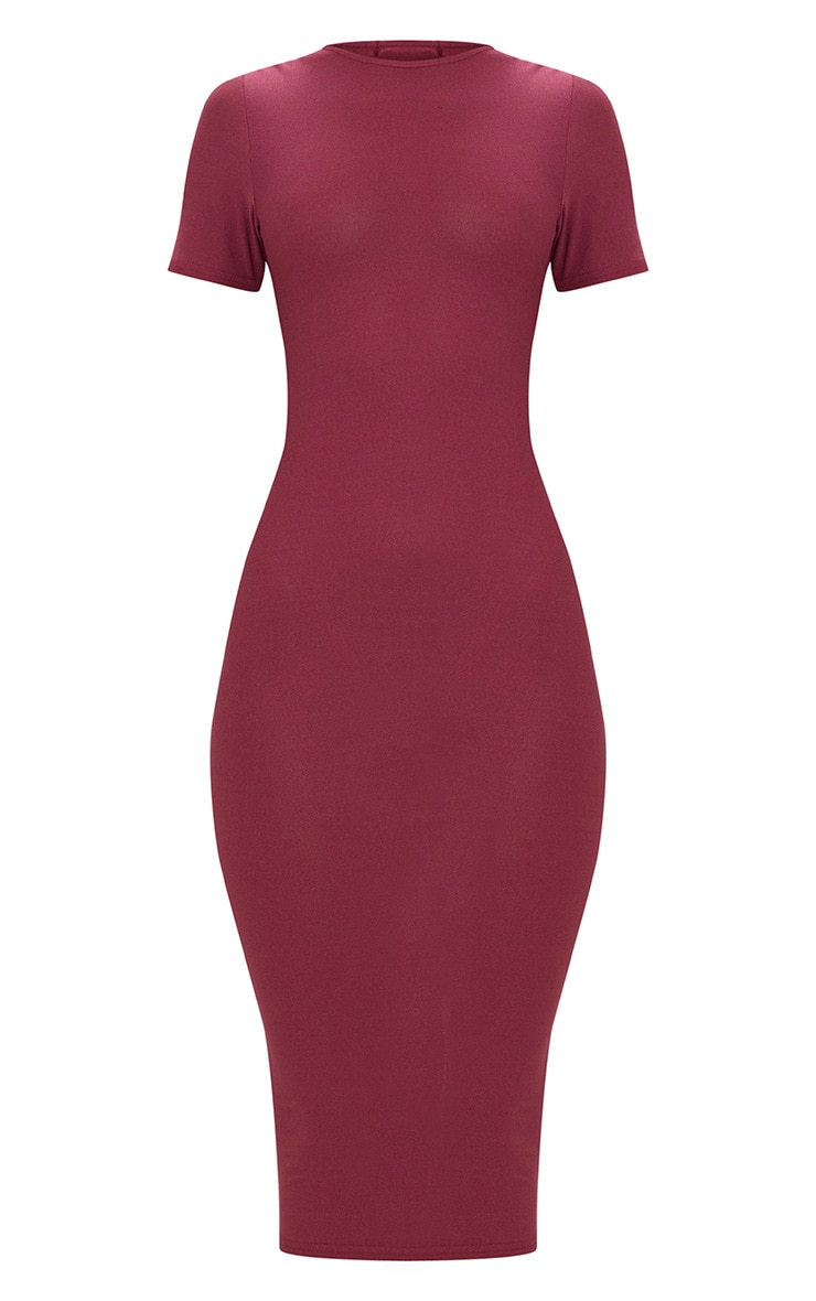 Burgundy Cap Sleeve Midi Dress  3