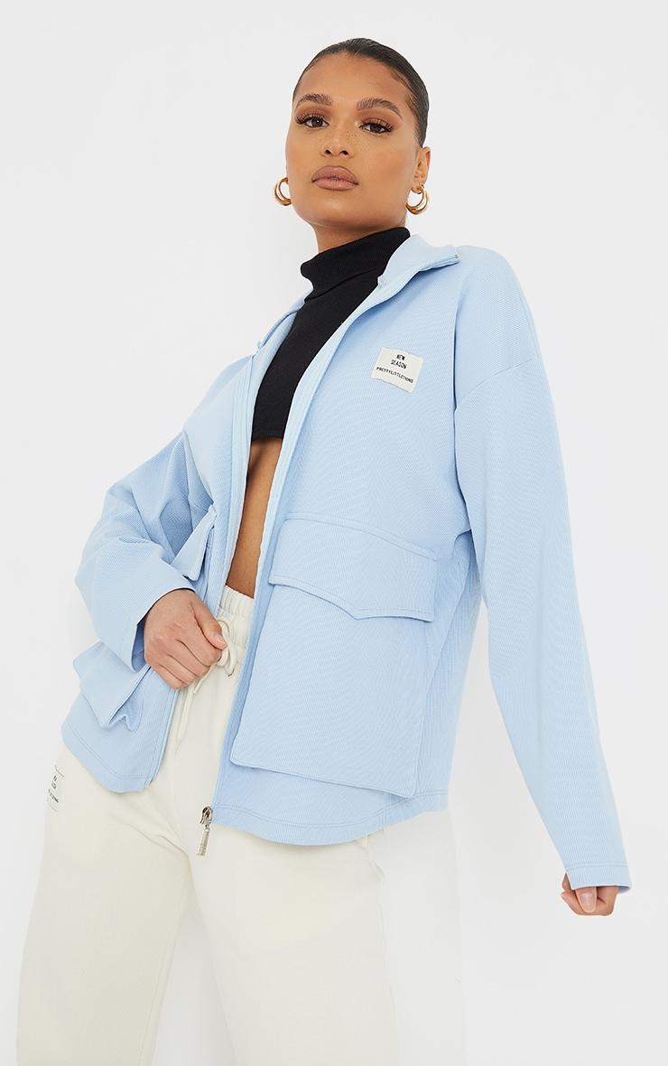 PRETTYLITTLETHING Baby Blue Pocket Front Ribbed New Season Jacket 1