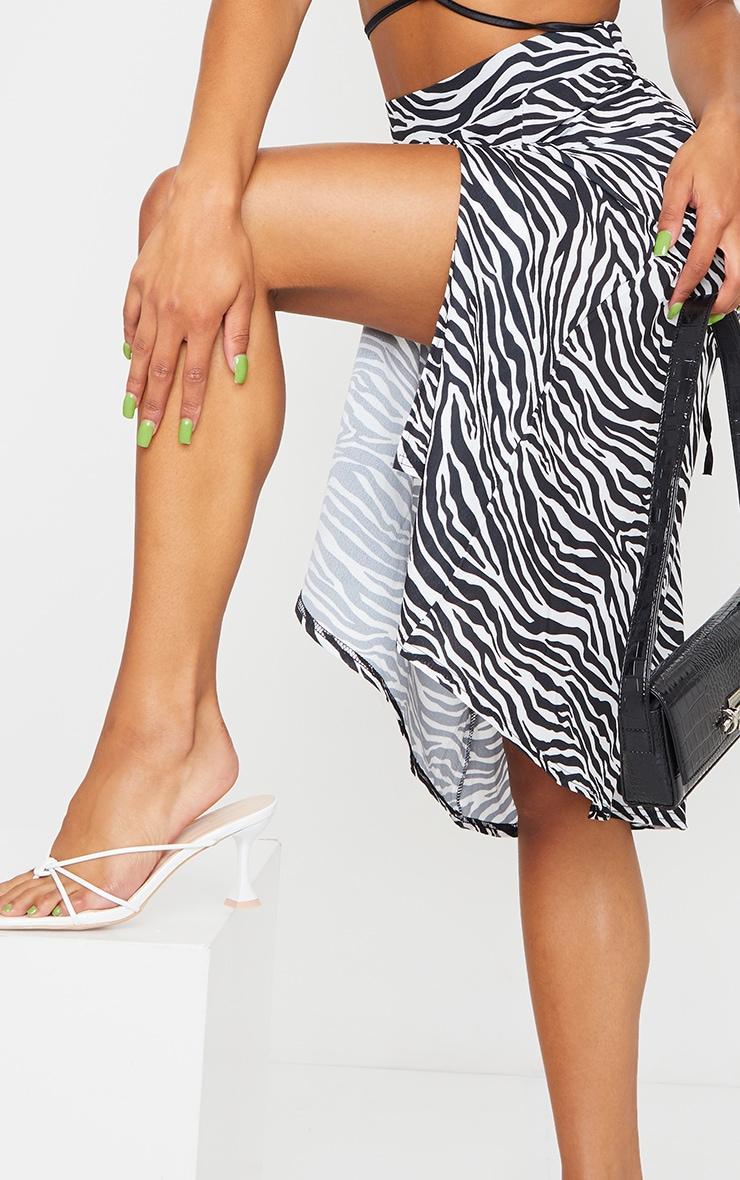 White Zebra Floaty Midi Skirt 4