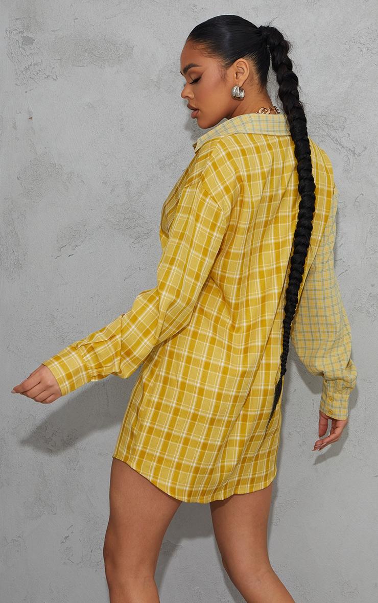 Yellow Contrast Check Panel Oversized Shirt Dress 2