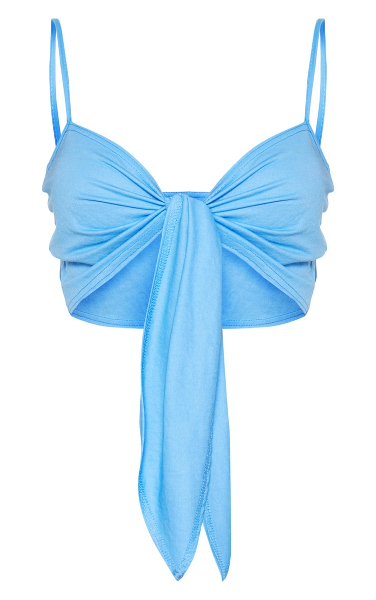 Blue Woven Tie Front Bralet  3