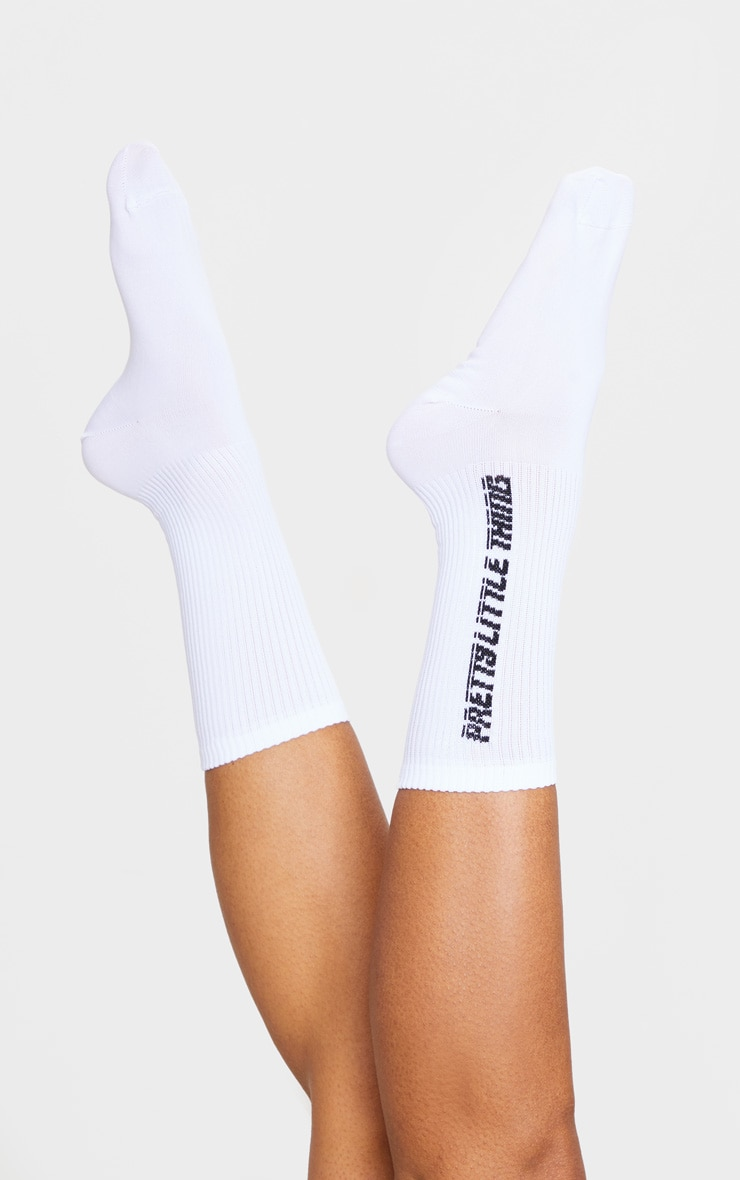 PRETTYLITTLETHING White Logo Side Socks 2