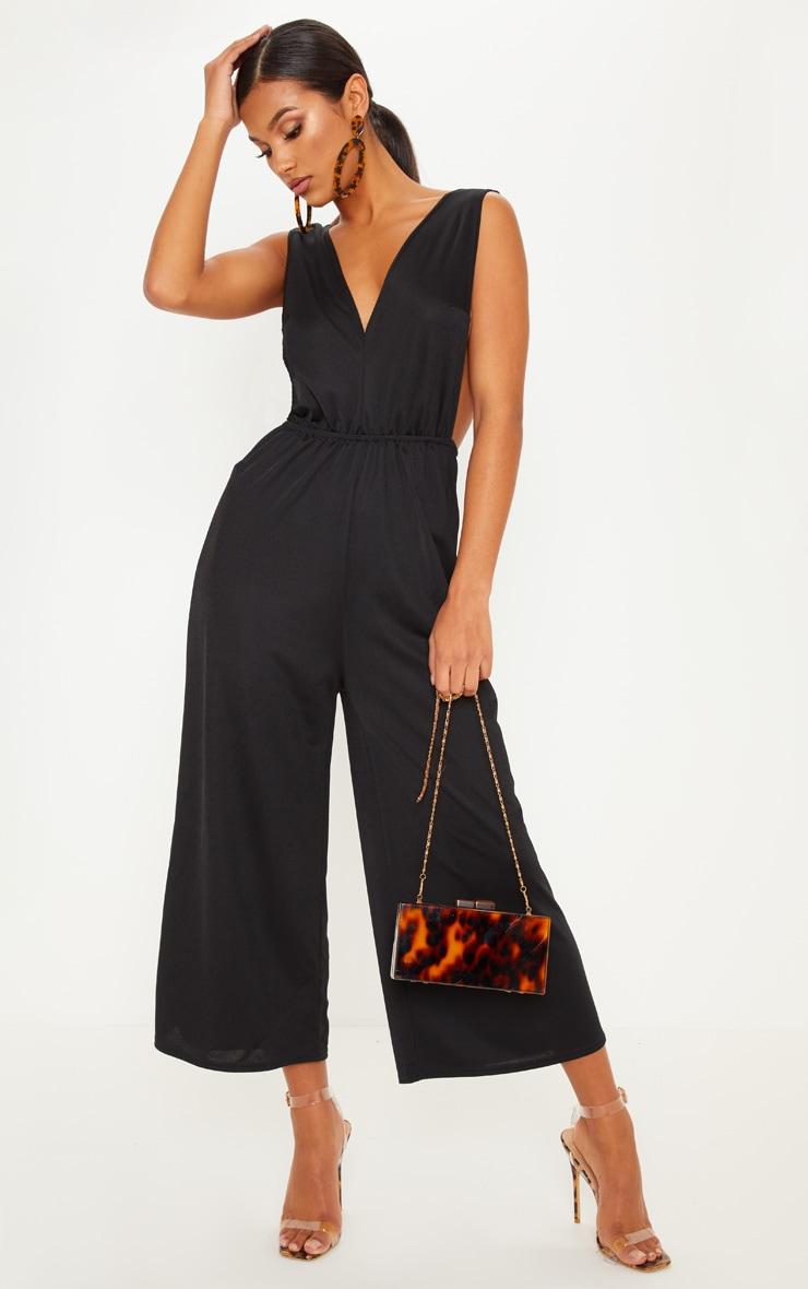 Black V Strap Culotte Jumpsuit image 1