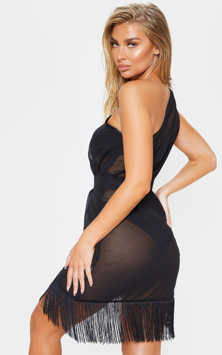 Black Asymmetric Fringe Beach Dress 2