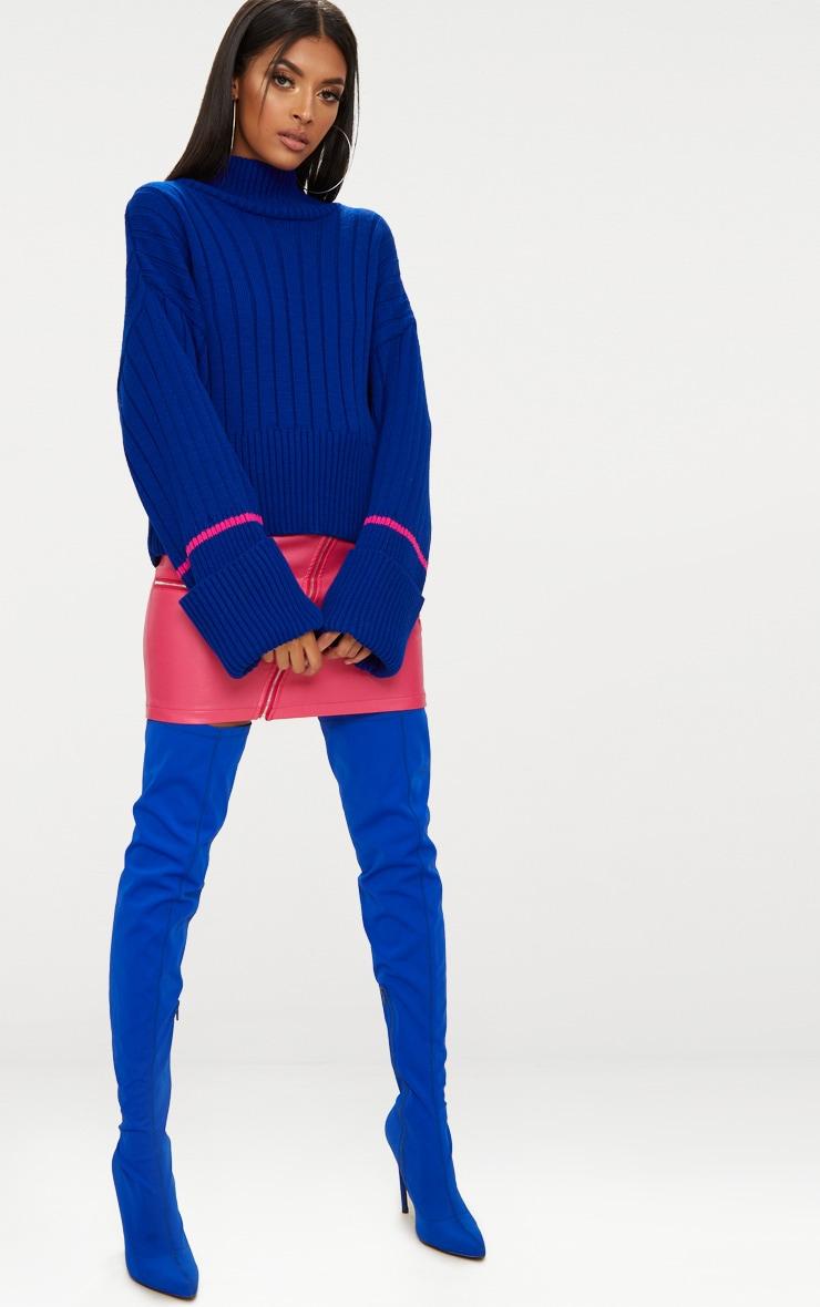 Blue Turnback Stripe Sleeve Jumper 4