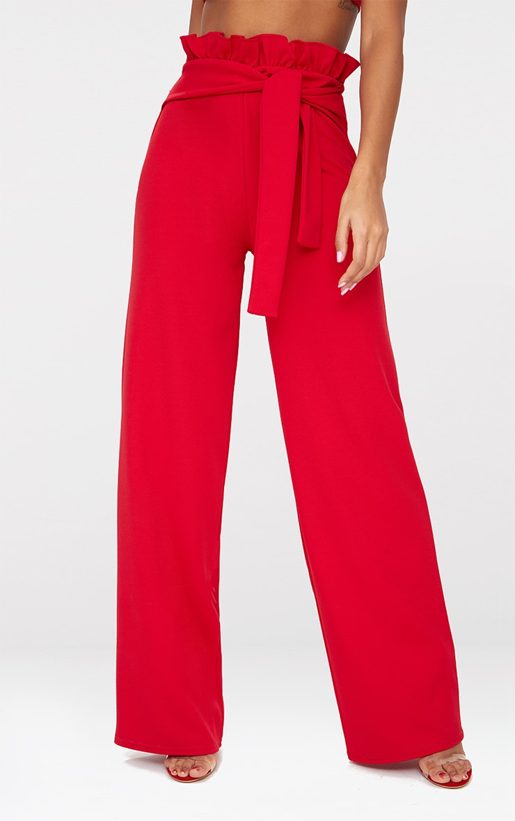 Red Crepe Paperbag Wide Leg Trousers 2