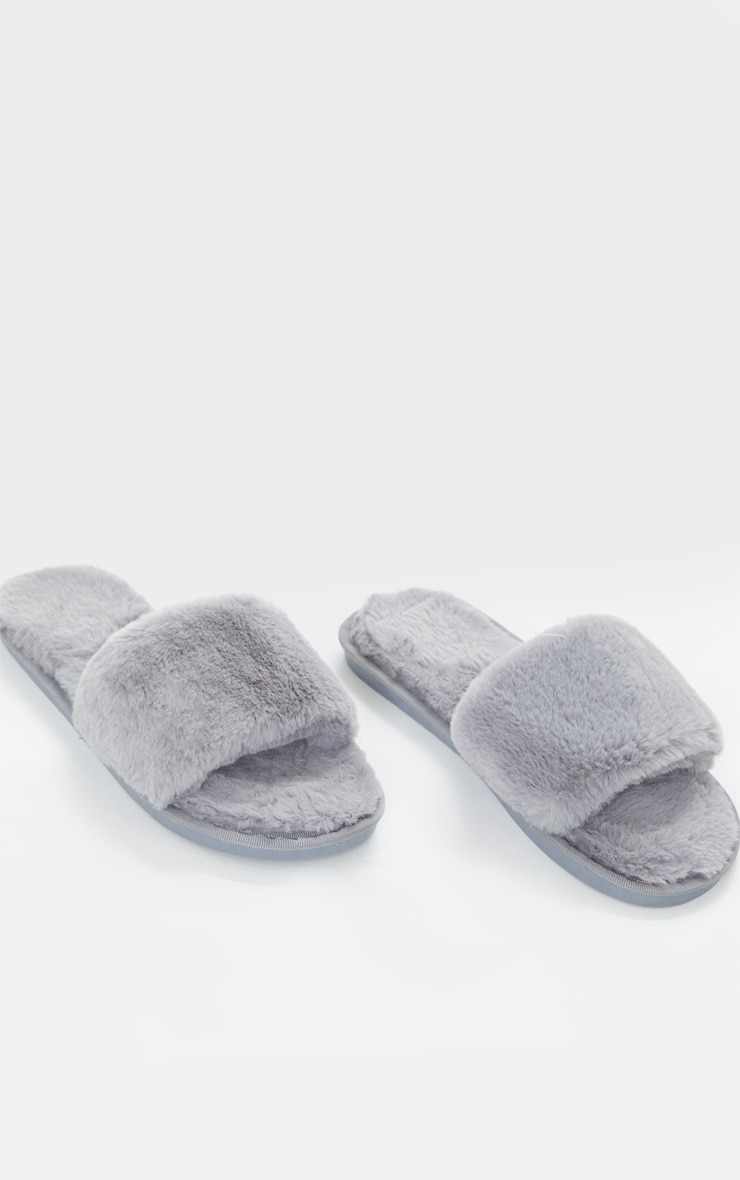 Light Grey Fluffy Slider Slippers 3
