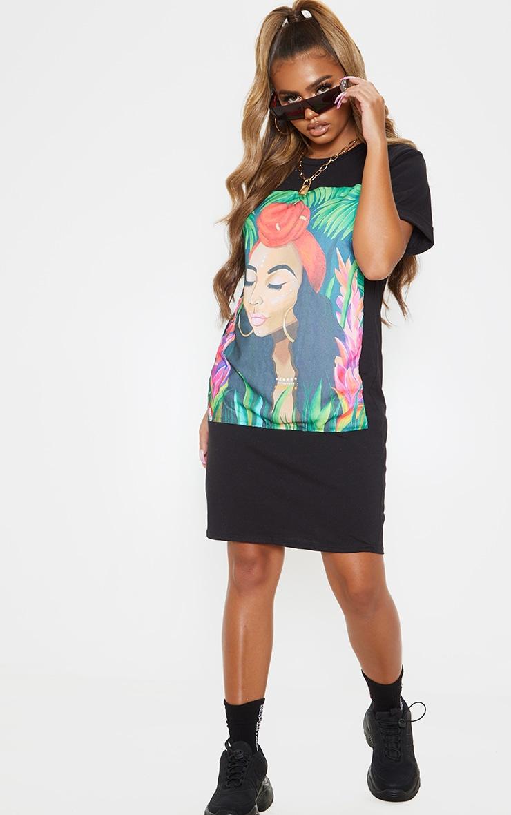 Black Tropical Portrait Print T Shirt Dress 4