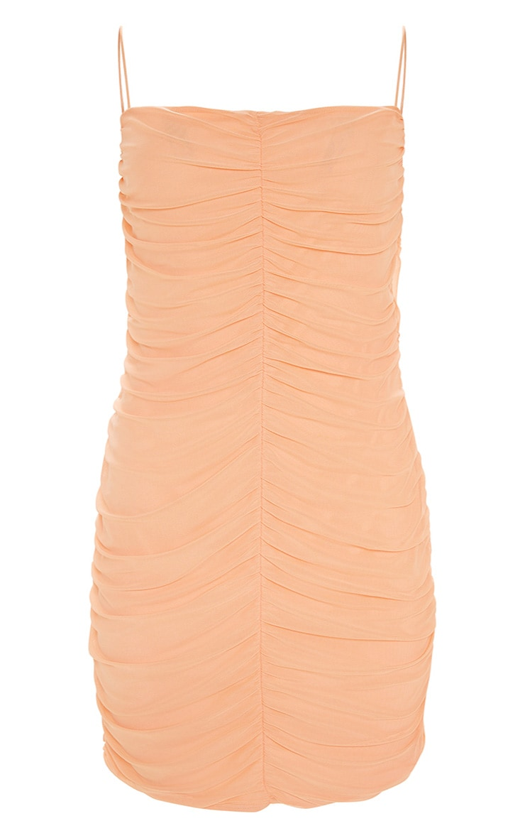 Plus Peach Second Skin Ruched Mesh Bodycon Dress 3