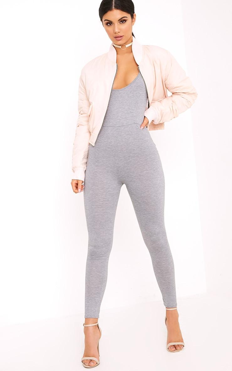 Khlara Grey Jersey Low Back Jumpsuit 4
