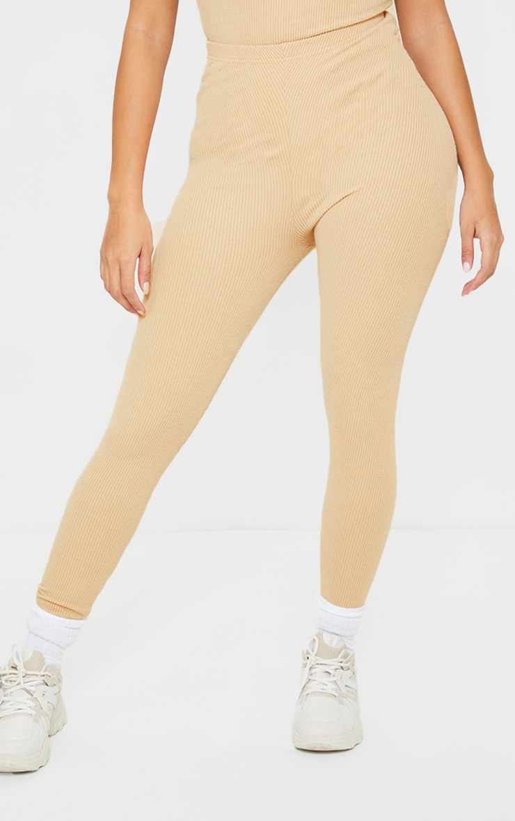 Shape Sand Textured Rib Ruched Bum Leggings 2