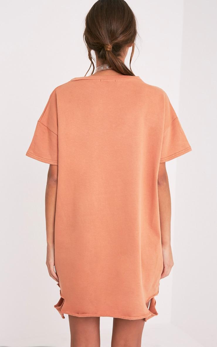 Orla robe pull pêche à manches courtes aspect vieilli 2