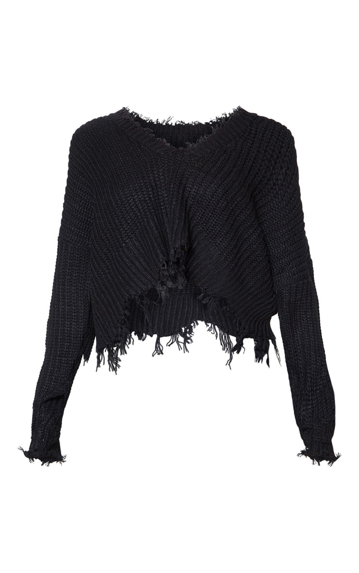 Black Fringe Hem Knitted Jumper 4