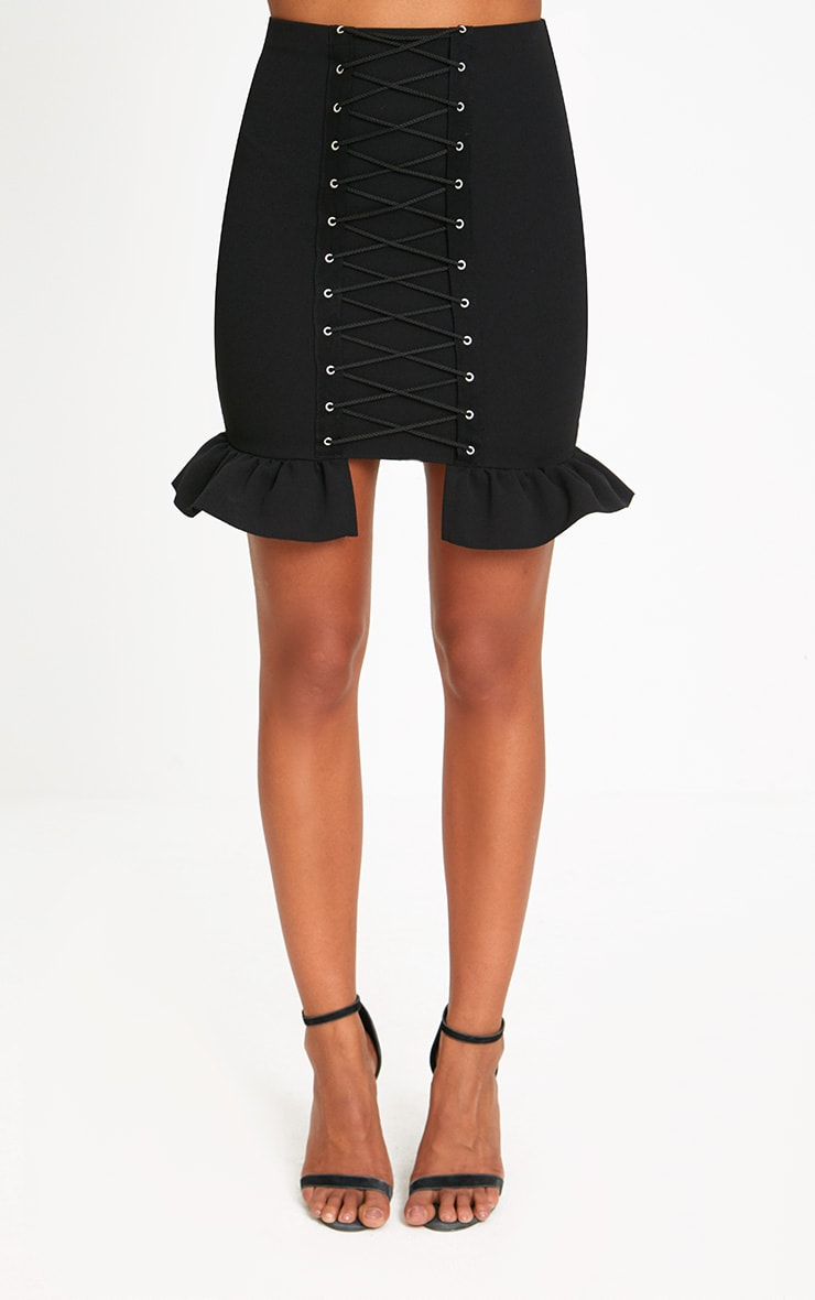 Black Corset Lace Up Midi Skirt 2