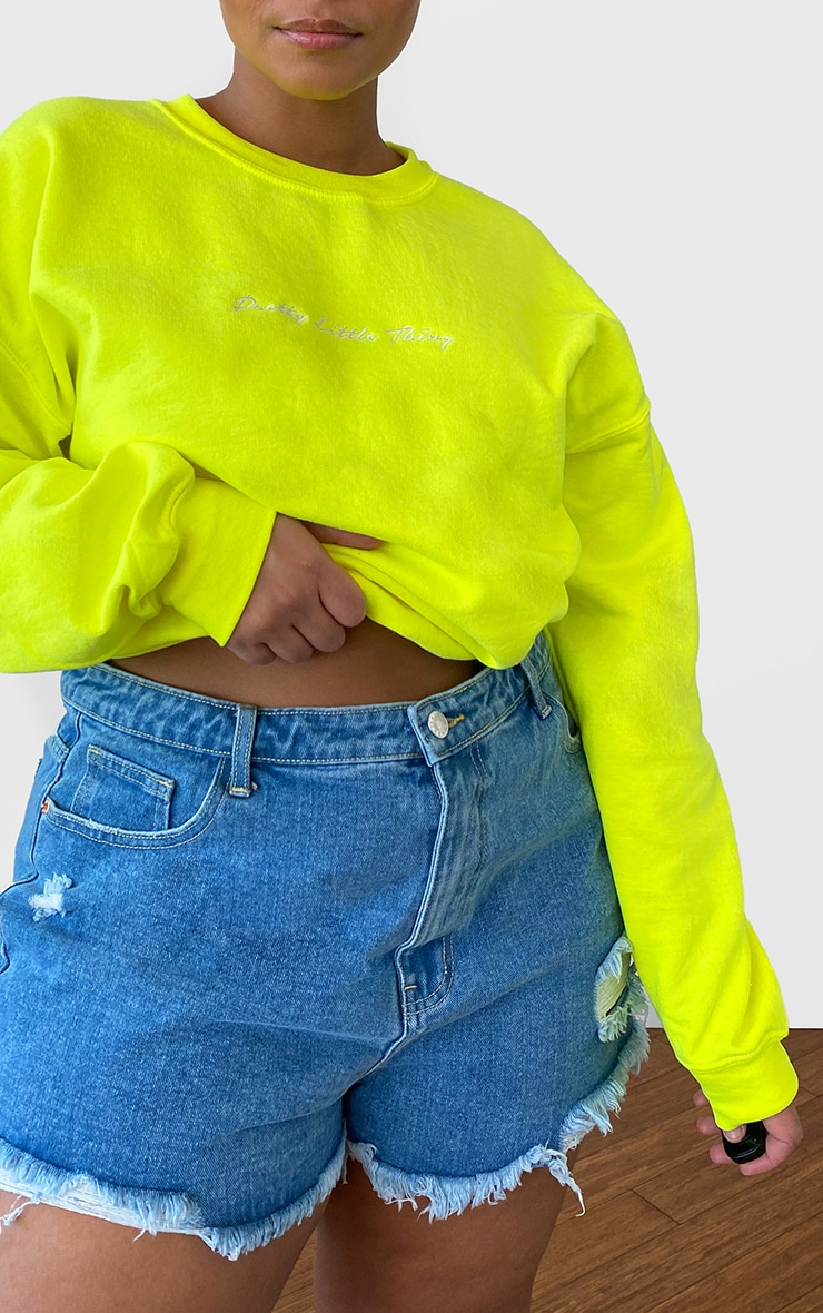 PRETTYLITTLETHING Plus Lime Oversized Sweater 4