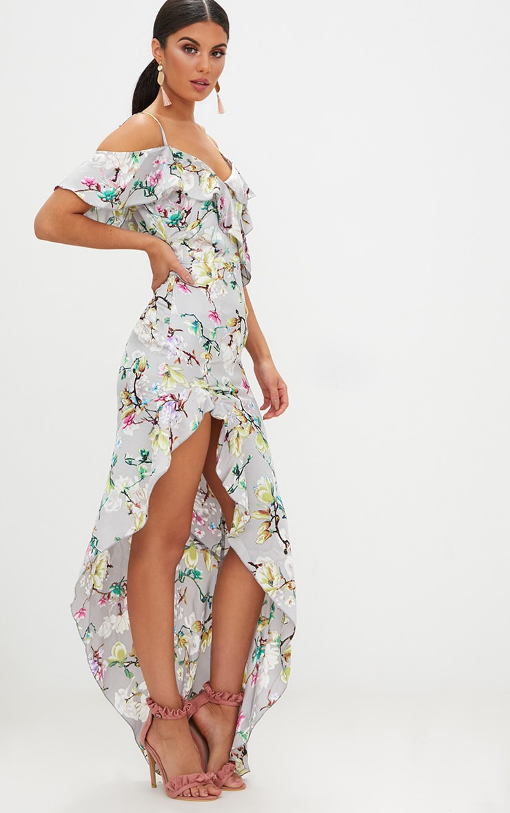 Grey Floral Satin Asymmetric Hem Maxi Dress 4
