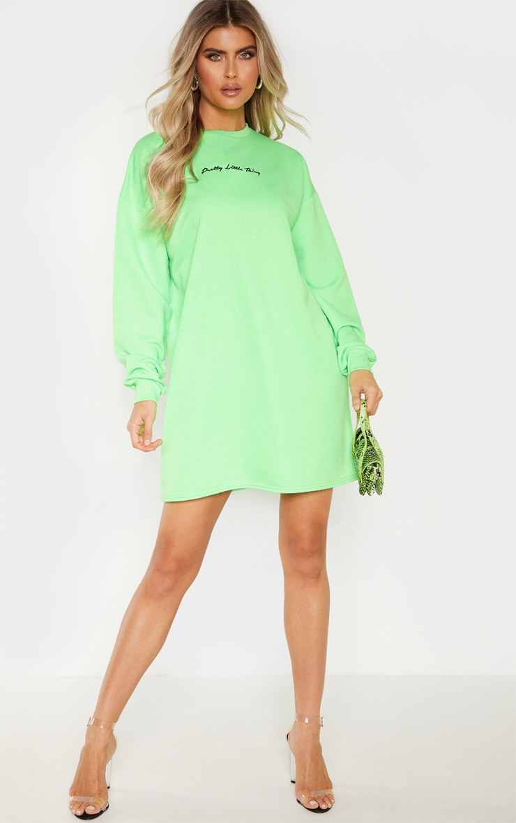 PRETTYLITTLETHING Tall Neon Lime Embroidered Jumper Dress 4