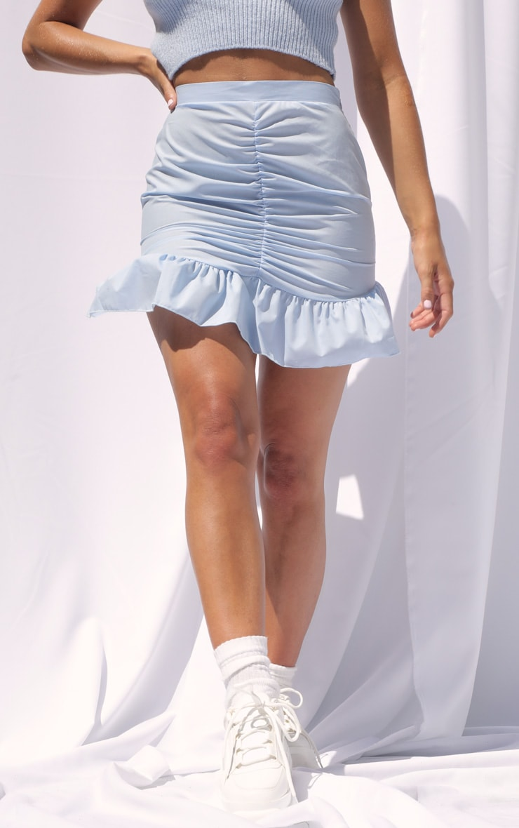 Baby Blue Woven Ruched Frill Hem Mini Skirt 2