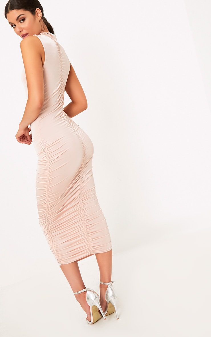 Nude Sleeveless Ruched Detail Midi Dress 2