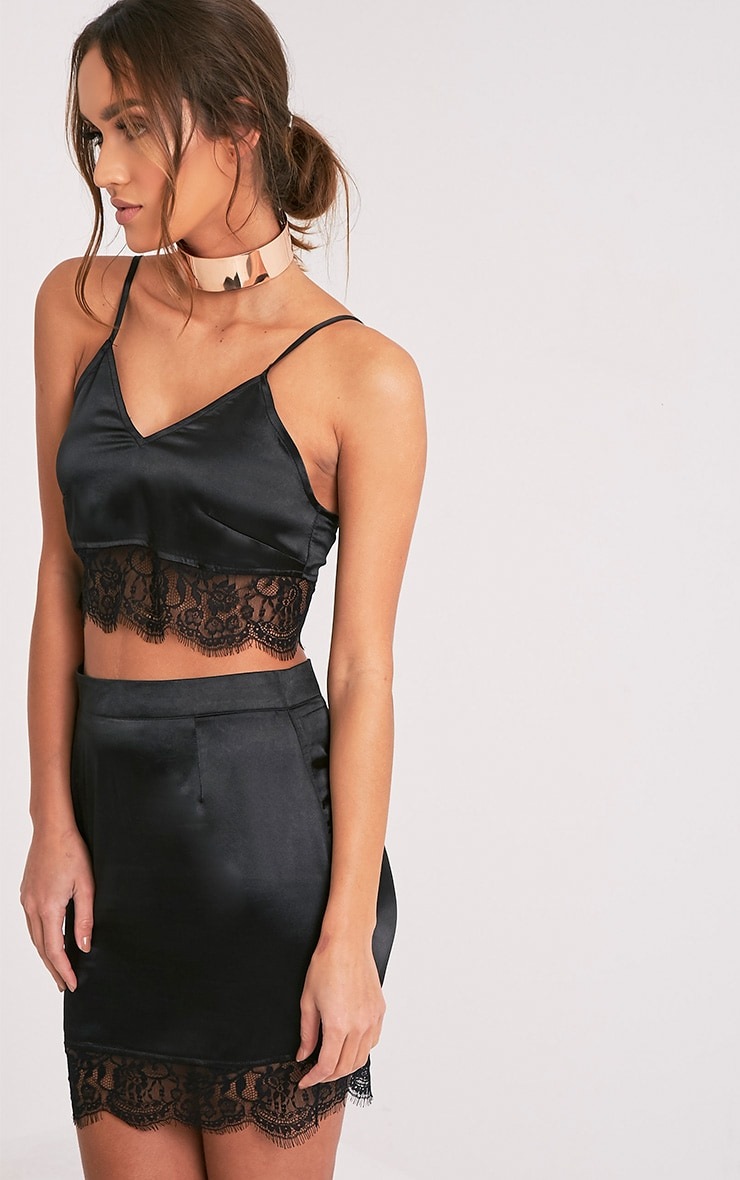 Lilo Black Satin Lace Cami Crop Top 4