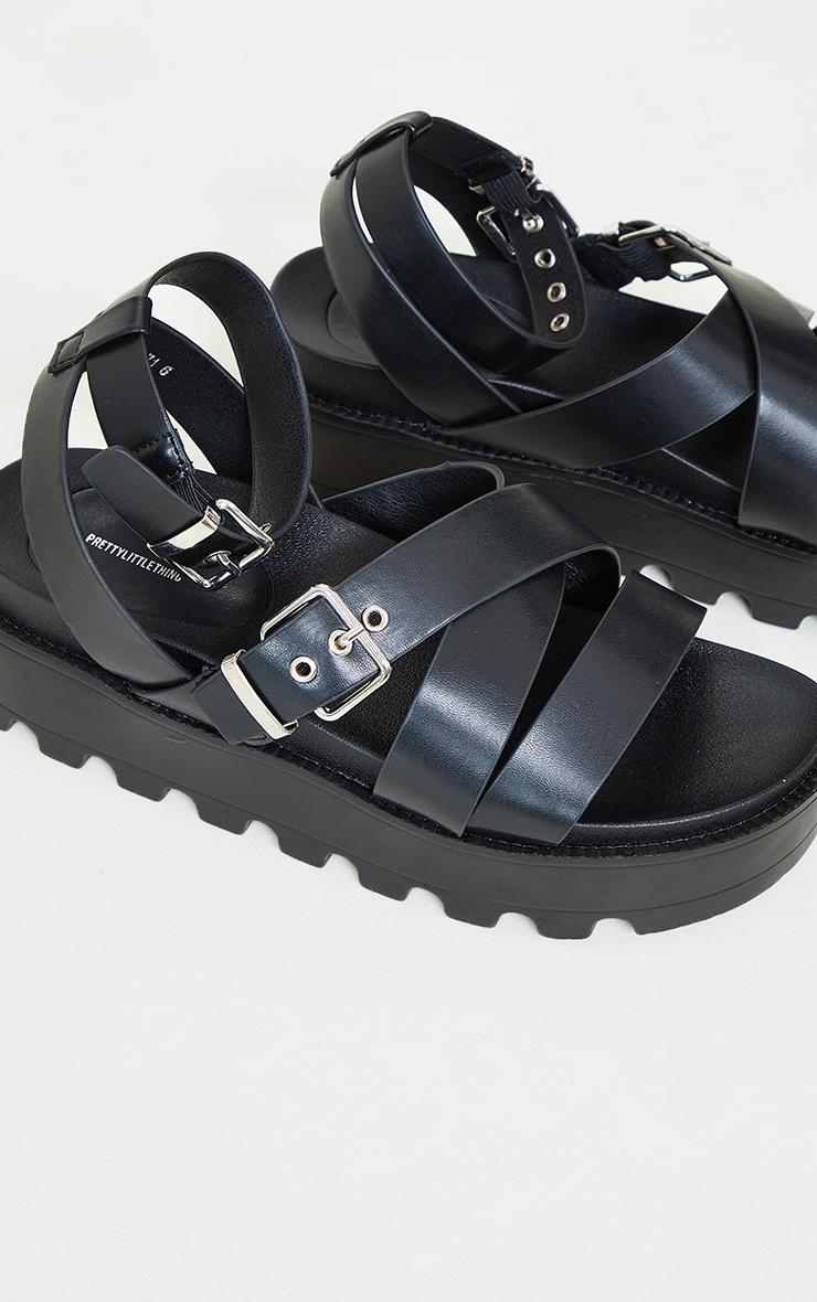 Black Cleated Flatform Gladiator Sandals 3