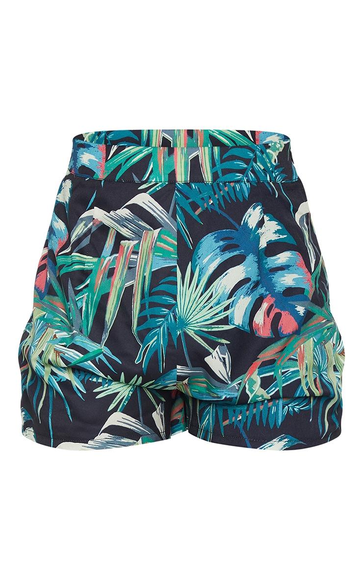 Black Tropical Print Tailored Shorts 6