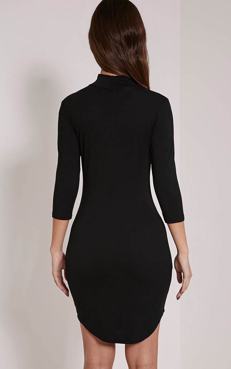 Alby Black 3/4 Sleeve Curve Hem High Neck Dress 2