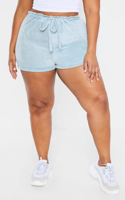 Plus Mint Velour Drawstring Waist Shorts