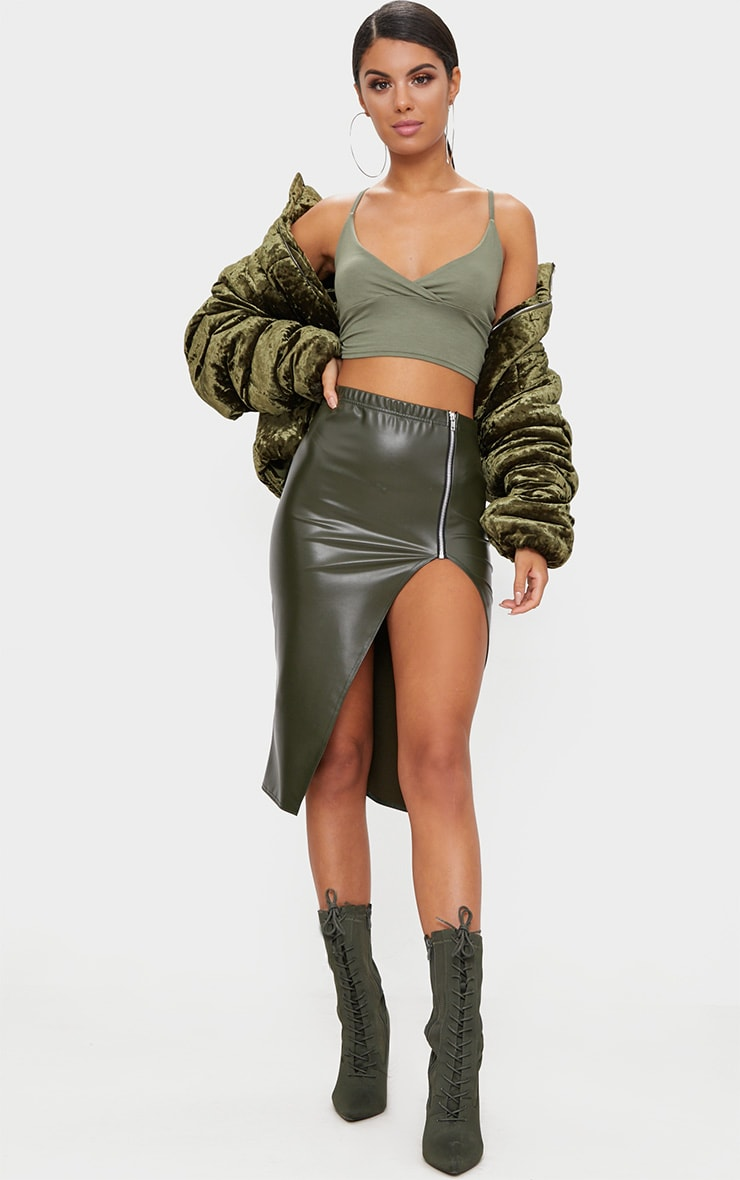 Khaki Faux Leather Extreme Split  1