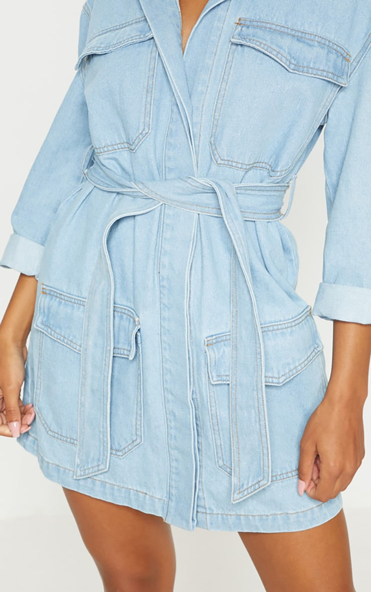 Mid Wash Denim Button Up Tie Detail Shirt Dress 7