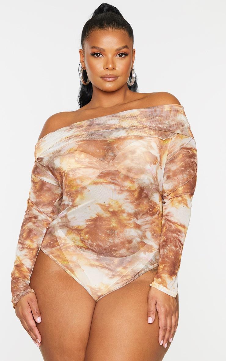 Plus Brown Tie Dye Print Mesh Bardot Bodysuit 2