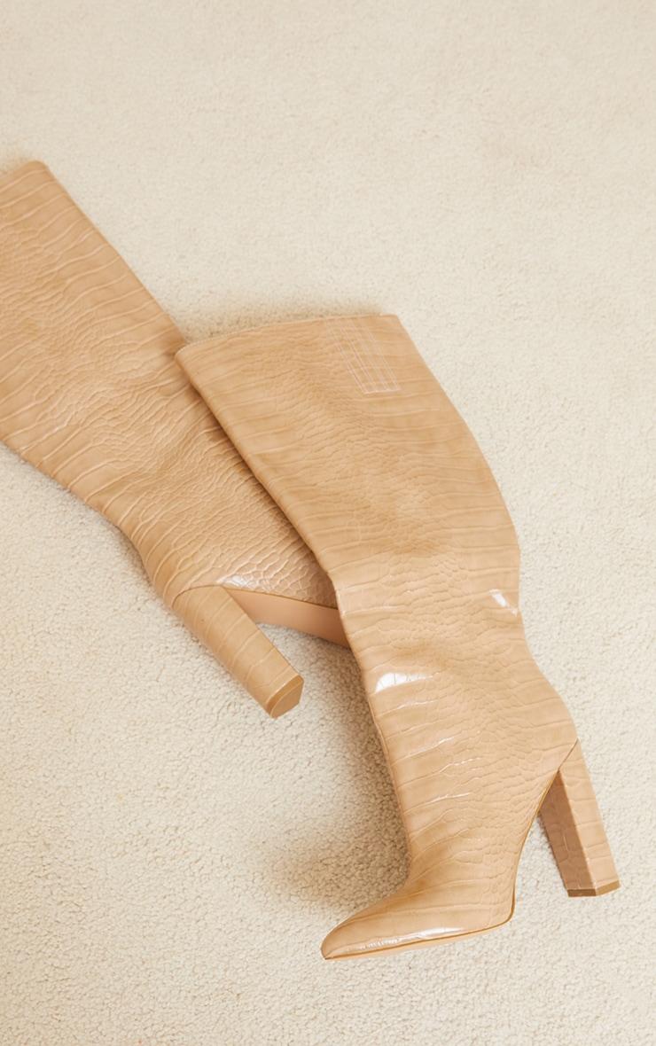 Cream Wide Fit Croc Pu Knee High Point Block Heel Boots 4