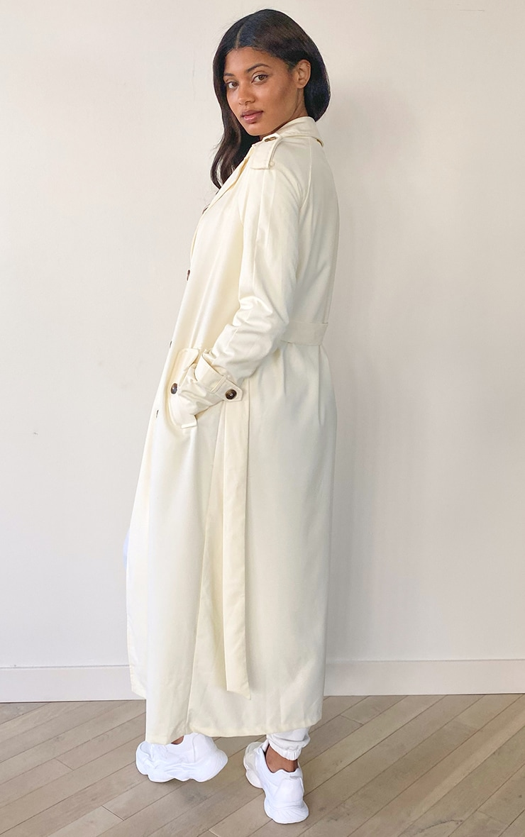 Tall Cream Woven Oversized Trench Jacket 2