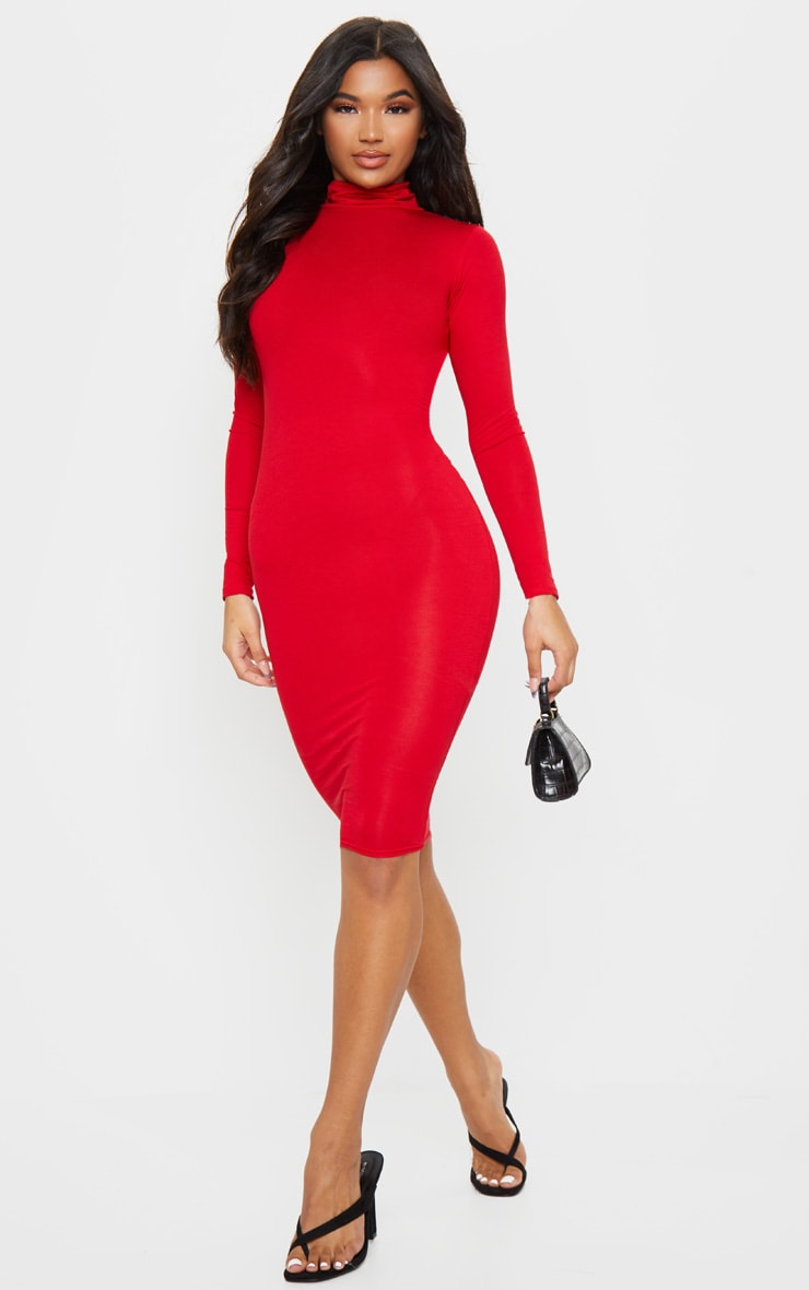 Basic Red Roll Neck Midi Dress 1