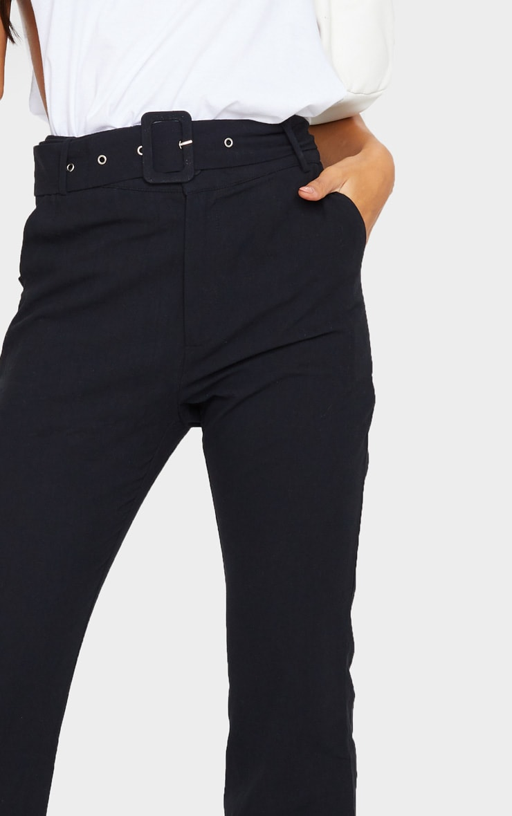 Black Textured Belted Straight Leg Trousers 4