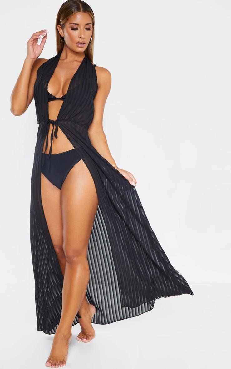 Black Sheer Stripe Halterneck Maxi Beach Dress 3