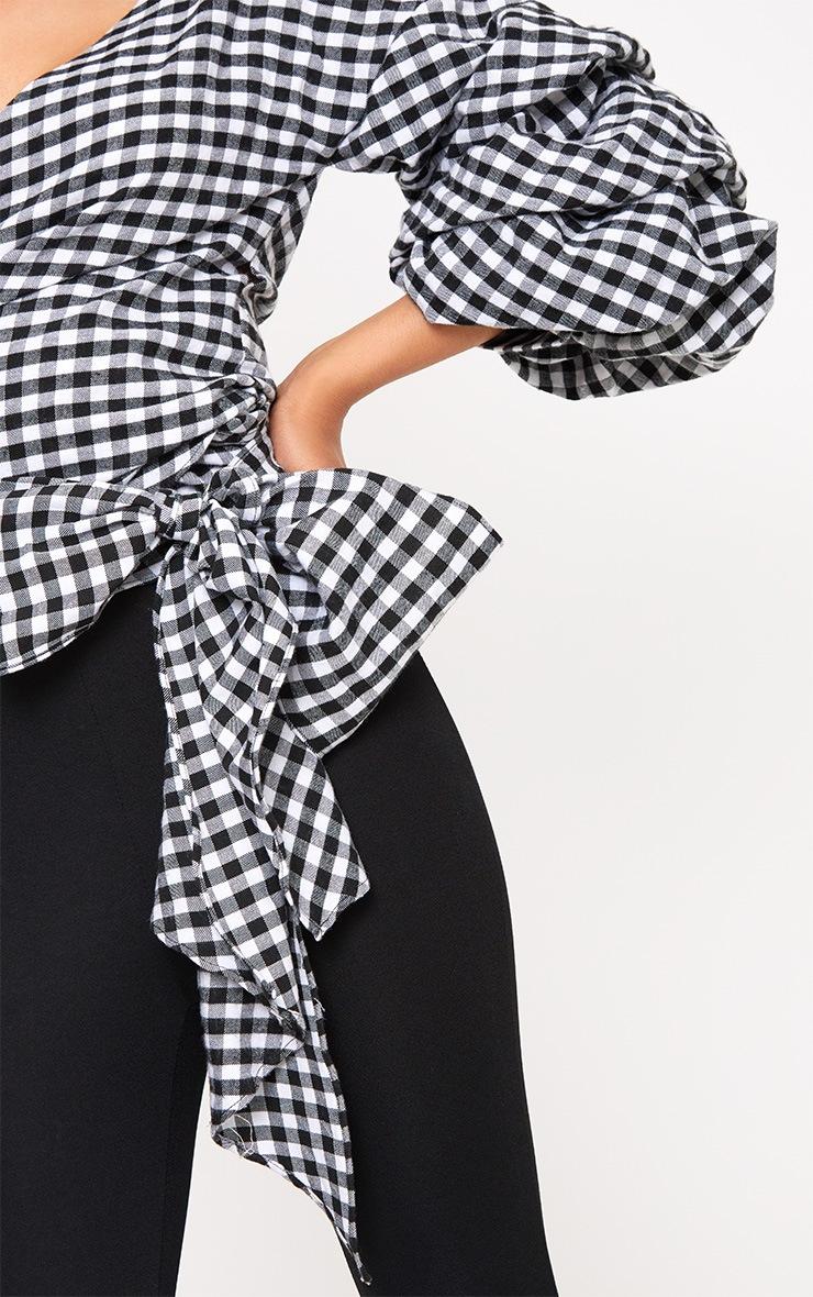 Marlow Black Gingham Oversized Ruffle Sleeve Low Shoulder Shirt 5