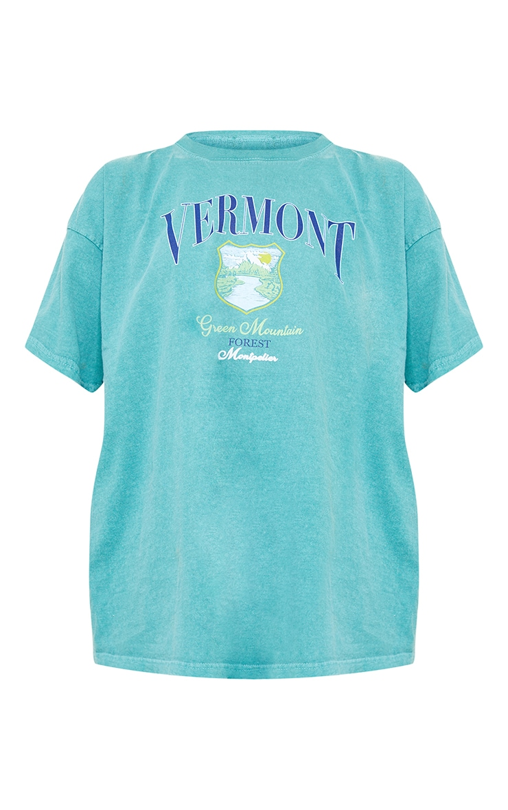 Forest Green Vermont Print Washed T Shirt 5