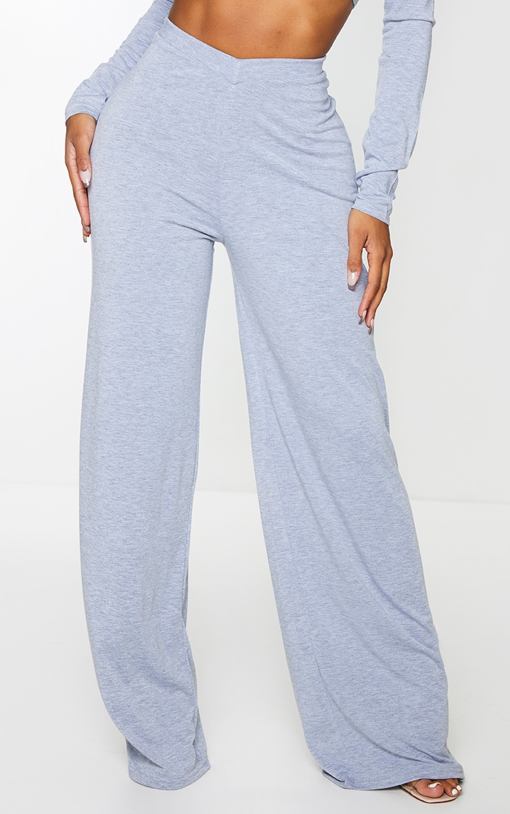 Shape Grey Jersey V Front Wide Leg Pants 2