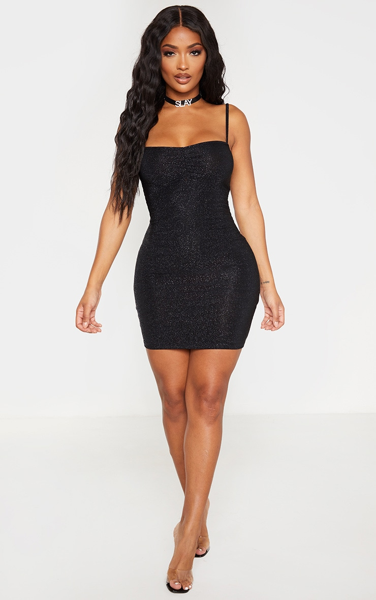 Shape Black Glitter Skinny Strap Ruched Bust Bodycon Dress 4