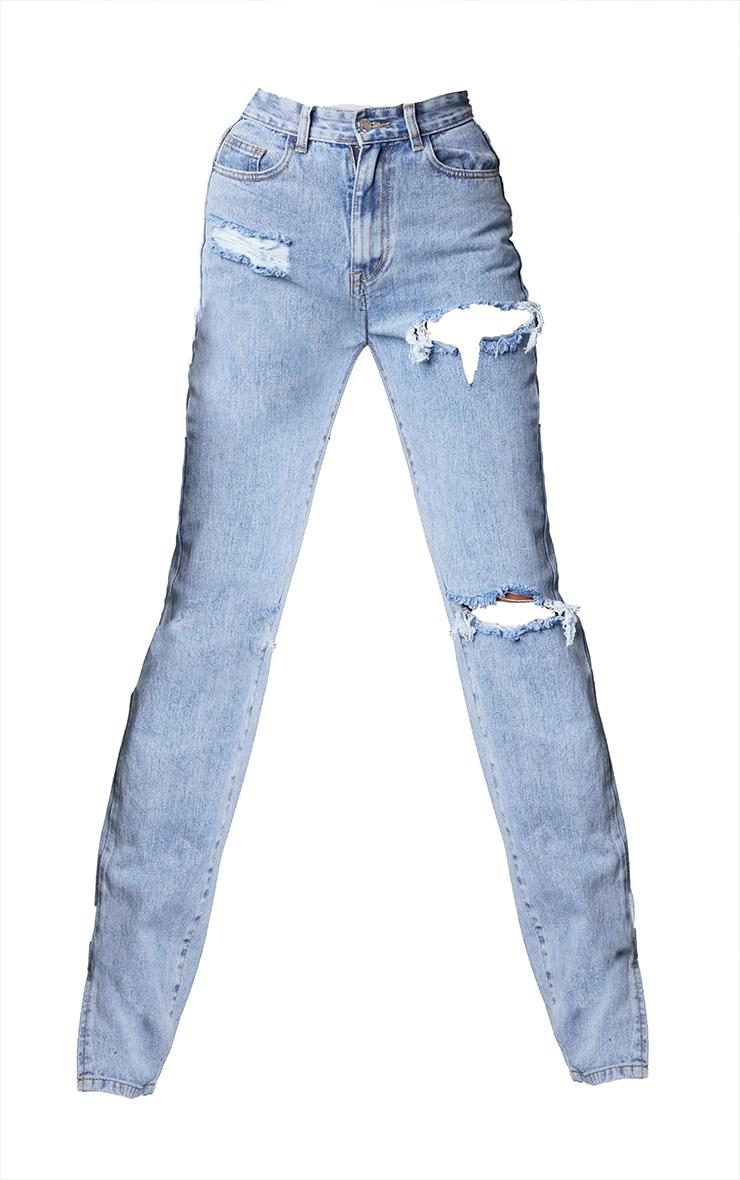 Tall Bleach Wash Ripped Split Hem Jeans 5
