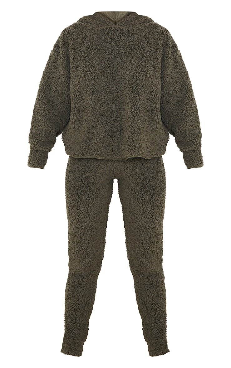 Khaki Borg Teddy Ear Hoodie And Leggings PJ Set  5