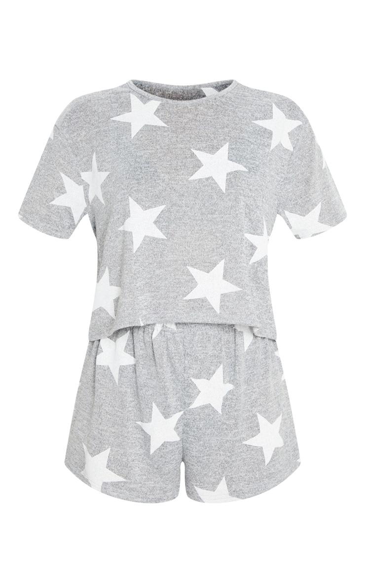 Grey and White Star Print Short PJ Set 5