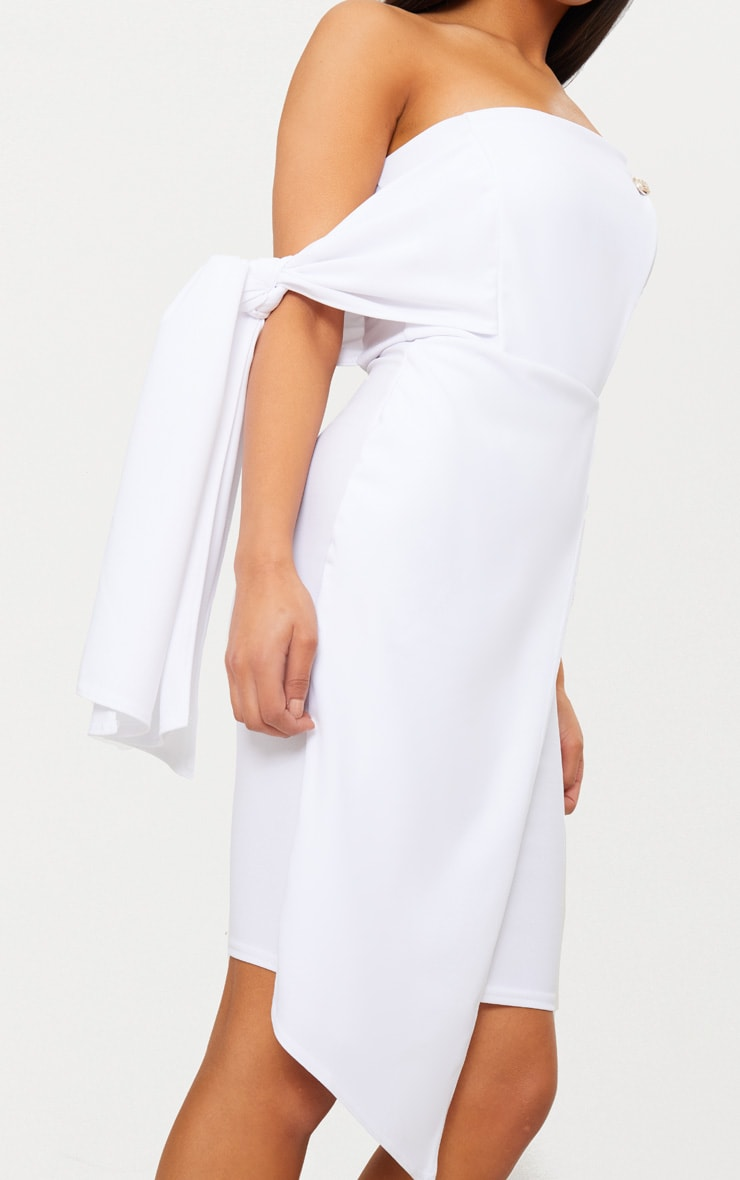 White Tie Detail Wrap Front Bandeau Midi Dress 5