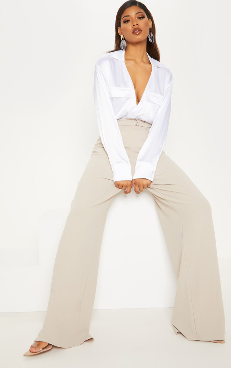 Tall White Plunge Pocket Detail Blouse 4