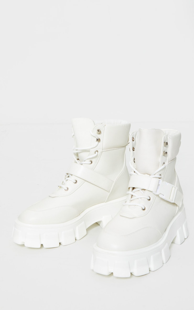 White Extreme Chunky Sole Buckle Clasp Hiker Boots 3